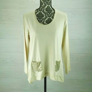LOGO Instant Chic Cream Knit Embellished Tunic Top